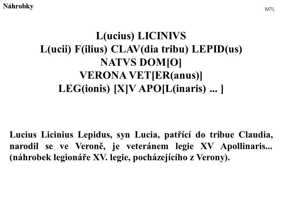 L(ucii) F(ilius) CLAV(dia tribu) LEPID(us) NATVS DOM[O]